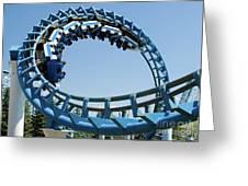 Cork-screw Rollercoaster And Ferris-wheel Greeting Card