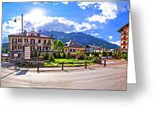 Cortina D' Ampezzo Street And Alps Peaks Panoramic View Greeting Card