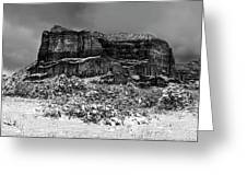 Courthouse Butte And Bell Rock Under Snow Greeting Card