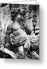 Courtyard Statue Of A Cherub French Quarter New Orleans Black And White Greeting Card by Shawn O'Brien