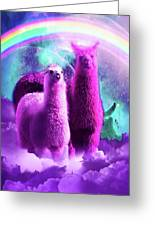 Crazy Funny Rainbow Llama In Space Greeting Card