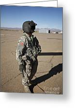 Crew Chief Of A Ch-47 Chinook Stands Greeting Card