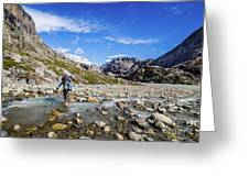 Crossing A River In Patagonia Greeting Card