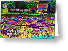Crowded Beach Greeting Card