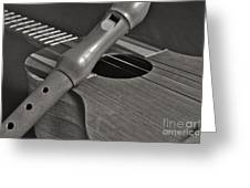 Cuatro Guitar And Flute Greeting Card