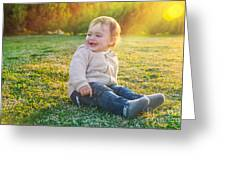 Cute Baby Boy Outdoors Greeting Card