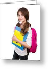 Cute Schoolgirl Portrait Greeting Card
