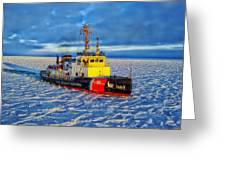 Cutting Through The Ice On Lake Michigan Greeting Card
