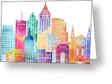 Atlanta Landmarks Watercolor Poster Greeting Card