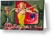 Dancing Ganapati With Universe And Abstract Back Ground Greeting Card