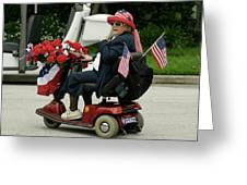 Patriotic Lady On A Scooter Greeting Card