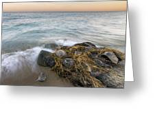 Dawn Waves At Pierport Greeting Card