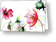 Decorative Wild Flowers Greeting Card