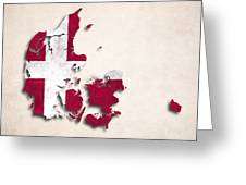 Denmark Map Art With Flag Design Greeting Card