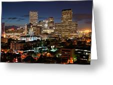 Denver Evening Skyline Greeting Card