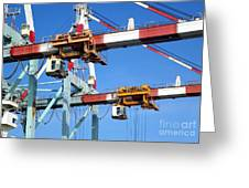 Detail View Of Container Loading Cranes Greeting Card