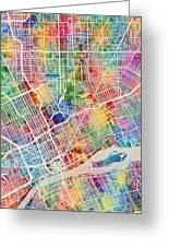 Detroit Michigan City Map Greeting Card