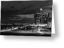 Detroit River Walk Panorama Greeting Card