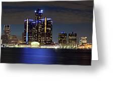 Detroit Skyline Panorama Greeting Card