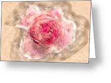 Digitally Manipulated Pink English Rose  Greeting Card