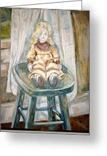 Doll On Stool Greeting Card