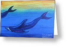 Dolphins At Play Greeting Card