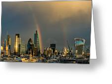 Double Rainbow Over The City Of London Greeting Card