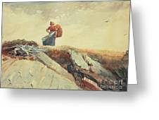 Down The Cliff Greeting Card by Winslow Homer