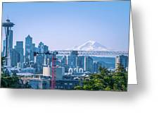 Downtown Cityscape View Of Seattle Washington Greeting Card