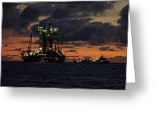 Drill Rig At Dusk Greeting Card