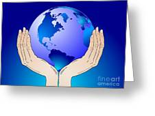 Earth In The Your Hands Greeting Card