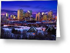 Edmonton Winter Skyline Greeting Card by Corey Hochachka