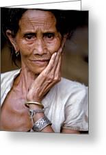Elderly Woman In Laos Greeting Card