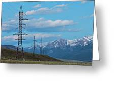 Electric Power Transmission Pylons On Inner Mongolia Grassland At Sunrise  Greeting Card