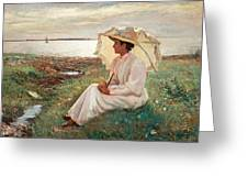 Elegant Lady By The Sea Greeting Card