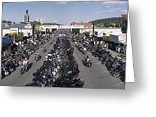 Elevated Panoramic View Of Main Street Greeting Card