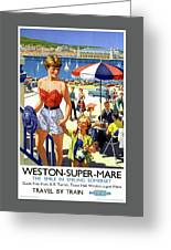 England Weston Super Mare Vintage Travel Poster Greeting Card
