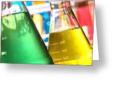 Erlenmeyer Flasks In Science Research Lab Greeting Card