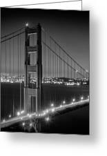 Evening Cityscape Of Golden Gate Bridge - Monochrome Greeting Card