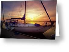 Evening Harbor At Rest Greeting Card