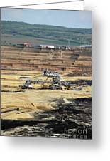 Excavators Working On Open Pit Coal Mine Greeting Card