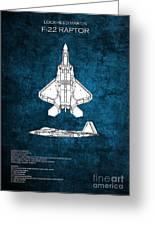 F22 Raptor Blueprint Greeting Card