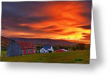 Farm At Sunset In Wentworth Valley Greeting Card