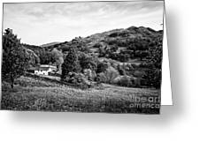 Farmhouse And Surrounding Countryside At Loughrigg Fell And Loughrigg Tarn Near Ambleside Lake Distr Greeting Card