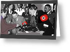 Ferdinand Porsche Showing The Prototype Of The Vw Beetle To Adolf Hitler 1935-2015 Greeting Card