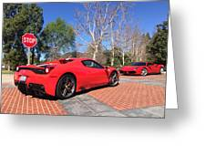 Ferrari 488 And 458 Speciale Aperta Convertible Greeting Card
