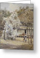 Figure In A Japanese Landscape Greeting Card
