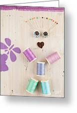 Figure Made Of Sewing Kits Greeting Card