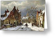 Figures In The Streets Of A Wintry Dutch Town Greeting Card