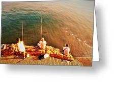 Fishermen In Beirut  Greeting Card